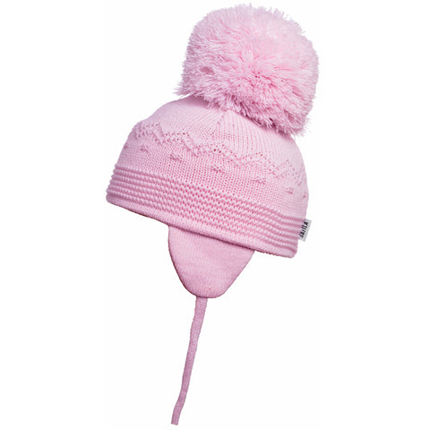 Satila of Sweden - Belle Baby Pink Knitted Big Pom Hat-Hat-Sweet Peas Kidswear