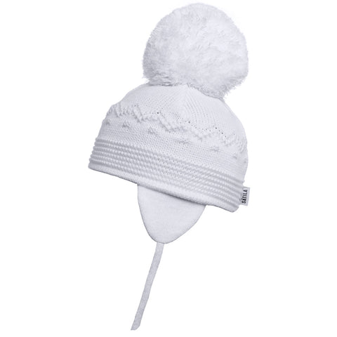 Satila of Sweden - Belle White Knitted Big Pom Hat-Hat-Sweet Peas Kidswear