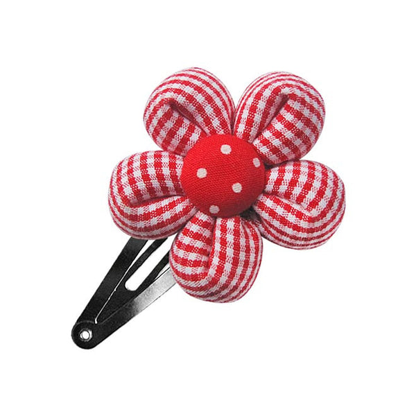 Red Small Gingham Flower hair clip-Flower Hair Clip-Sweet Peas Kidswear