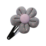 Grey Pink Dots Flower hair clip-Flower Hair Clip-Sweet Peas Kidswear