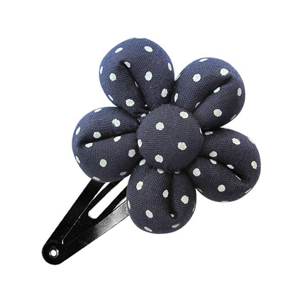 Marine White Dots Flower hair clip-Flower Hair Clip-Sweet Peas Kidswear