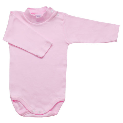 Babidu - Baby Pink Long Sleeved Roll Neck Bodyvest-Bodyvest-Sweet Peas Kidswear