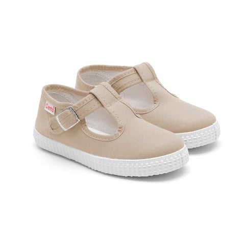 Cienta T-Bar Canvas Shoes - Beige-Canvas Shoes-Sweet Peas Kidswear