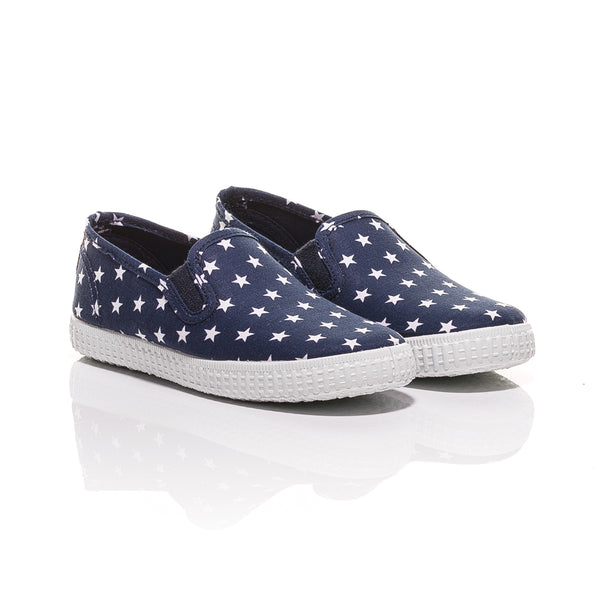 Cienta Navy Star Print Slip-On Canvas Shoes-Canvas Shoes-Sweet Peas Kidswear
