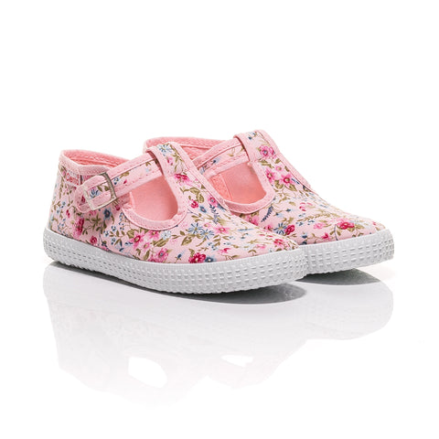 Cienta Pink Floral T-Bar Canvas Shoes-Canvas Shoes-Sweet Peas Kidswear