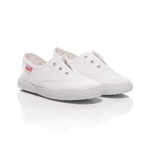 Cienta Slip-On Canvas Shoes - White-Canvas Shoes-Sweet Peas Kidswear