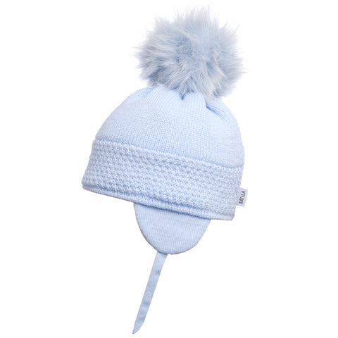 Satila of Sweden - Baby Blue 'Daisy' Faux Fur Pom-Pom Hat