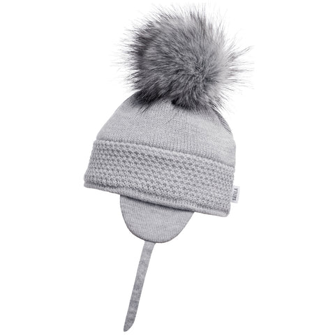 Satila of Sweden - Grey 'Daisy' Faux Fur Pom-Pom Hat-Hat-Sweet Peas Kidswear