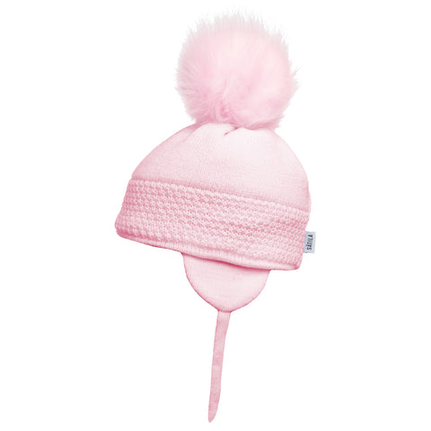 Satila of Sweden - Baby Pink 'Daisy' Faux Fur Pom-Pom Hat