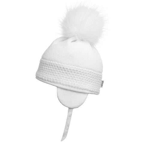 Satila of Sweden - White 'Daisy' Faux Fur Pom-Pom Hat-Hat-Sweet Peas Kidswear