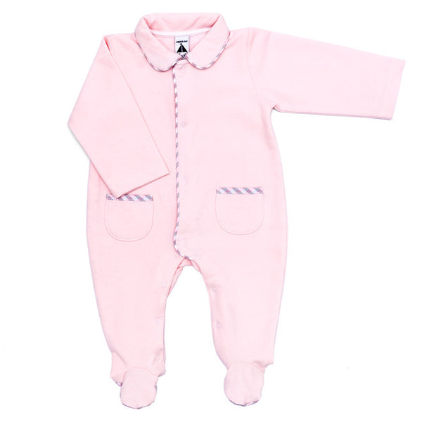 Babidu - Baby Girls Pink Cotton Babygrow with Check Trim-Baby Grow-Sweet Peas Kidswear