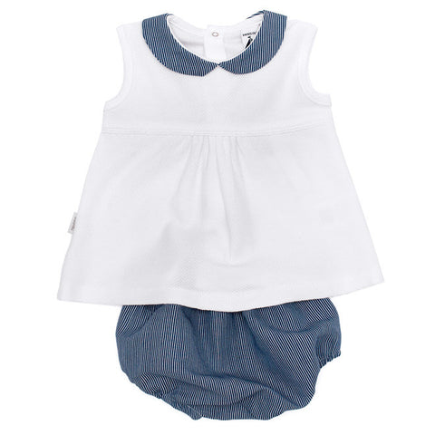 Babidu - Baby Girls White & Navy Blue Stripe 2 Piece Set-Outfit Set-Sweet Peas Kidswear