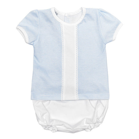 Babidu - Baby Boys Pale Blue & White Stripe Top & Shorts Set-Outfit Set-Sweet Peas Kidswear