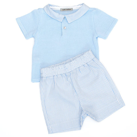 Mebi - Baby Boys Blue 2 Piece Shorts Set-Outfit Set-Sweet Peas Kidswear
