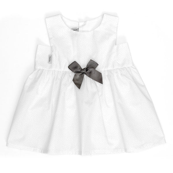 Babidu - Baby Girls White Polka Dot Bow Dress-Dress-Sweet Peas Kidswear