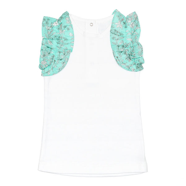 DOT - Girls Mint 'Christy' Frill T-Shirt-T-Shirt-Sweet Peas Kidswear