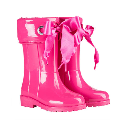 igor - Fuchsia Pink Bow Wellies-Shoes-Sweet Peas Kidswear