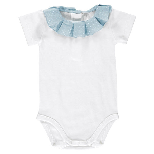 DOT - Blue Linen White Polka Dot Collar Body Vest-Bodyvest-Sweet Peas Kidswear