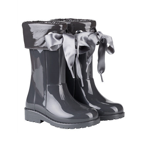 igor - Grey Bow Wellies-Shoes-Sweet Peas Kidswear