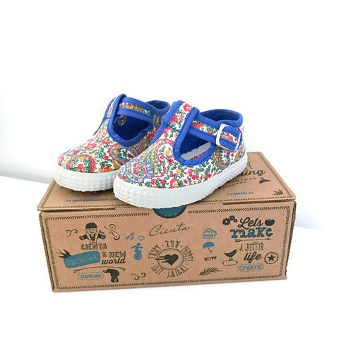 Cienta T-Bar Canvas Shoes - Paisley Blue-Canvas Shoes-Sweet Peas Kidswear