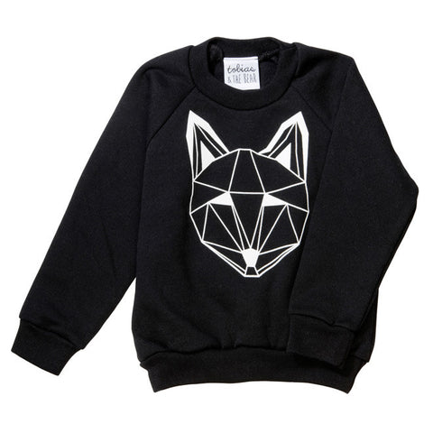 Tobias & The Bear - Just Call Me Fox Sweatshirt (Black)-Jumper-Sweet Peas Kidswear