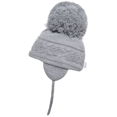 Satila of Sweden - Malva Grey Knitted Big Pom Hat-Hat-Sweet Peas Kidswear