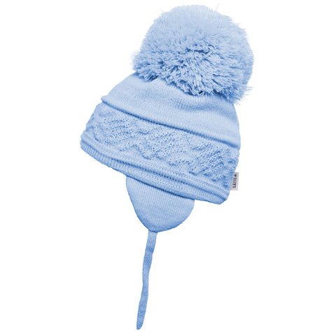 Satila of Sweden - Malva Baby Blue Knitted Big Pom Hat-Hat-Sweet Peas Kidswear