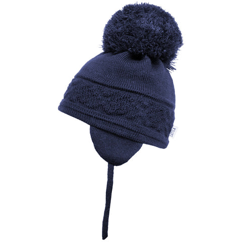Satila of Sweden - Malva Navy Knitted Big Pom Hat