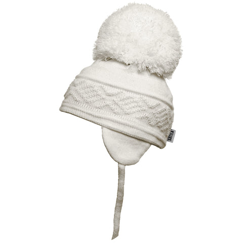 Satila of Sweden - Malva Ivory Knitted Big Pom Hat-Hat-Sweet Peas Kidswear