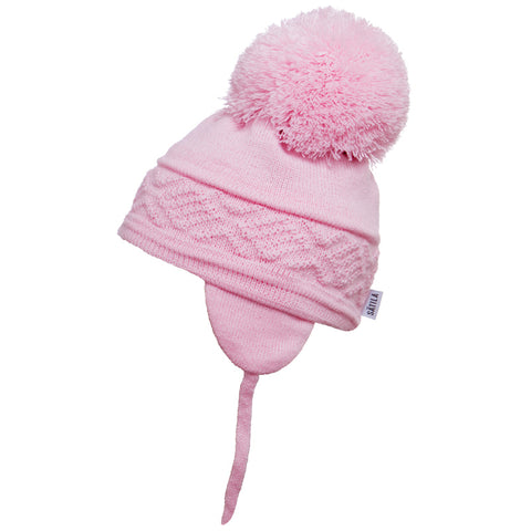 Satila of Sweden - Malva Baby Pink Knitted Big Pom Hat-Hat-Sweet Peas Kidswear
