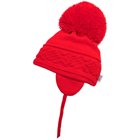 Satila of Sweden - Malva Red Knitted Big Pom Hat-Hat-Sweet Peas Kidswear