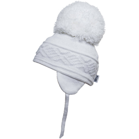 Satila of Sweden - Malva White Knitted Big Pom Hat