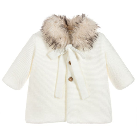 Mebi - Ivory Knitted Pram Coat with Fur Collar