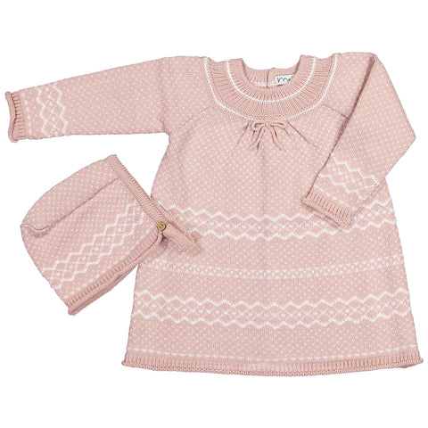 Mebi - Dusty Pink Two-Piece Knitted Dress and Hat Set-Outfit Set-Sweet Peas Kidswear