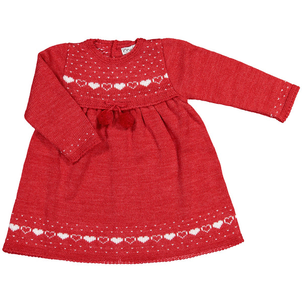 Mebi - Red Knitted Dress-Baby Grow-Sweet Peas Kidswear