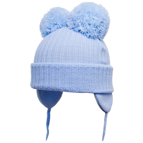 Satila of Sweden - Minnie Baby Blue Knitted Double Pom-Pom Hat-Hat-Sweet Peas Kidswear