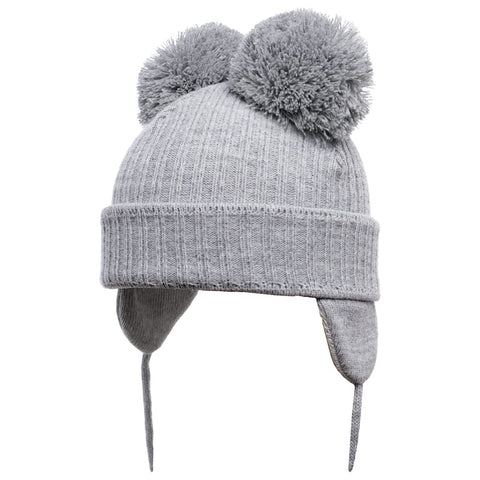 Satila of Sweden - Minnie Grey Knitted Double Pom-Pom Hat-Hat-Sweet Peas Kidswear