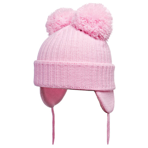 Satila of Sweden - Minnie Baby Pink Knitted Double Pom-Pom Hat-Hat-Sweet Peas Kidswear