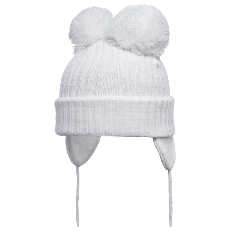 Satila of Sweden - Minnie White Knitted Double Pom-Pom Hat-Hat-Sweet 07875e3a54c