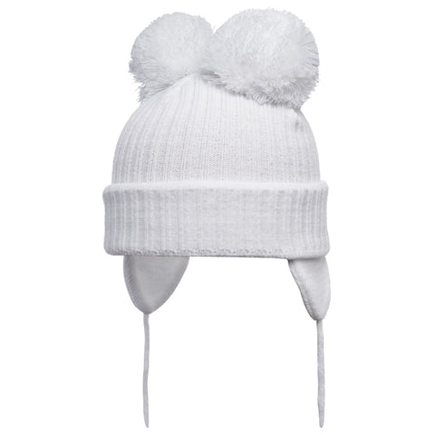 Satila of Sweden - Minnie White Knitted Double Pom-Pom Hat-Hat-Sweet Peas Kidswear