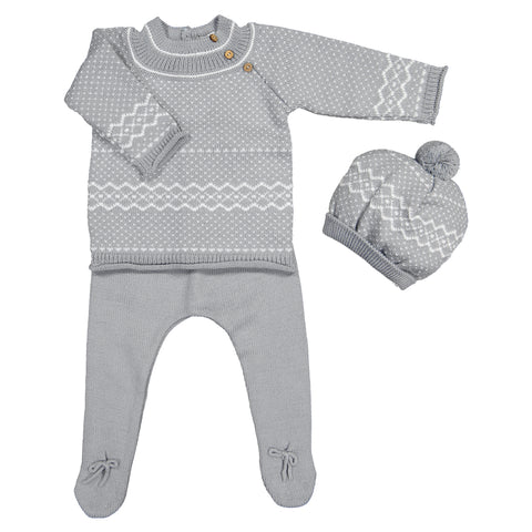 Mebi - Unisex Winter Knitted 3 Piece Baby Outfit-Outfit Set-Sweet Peas Kidswear