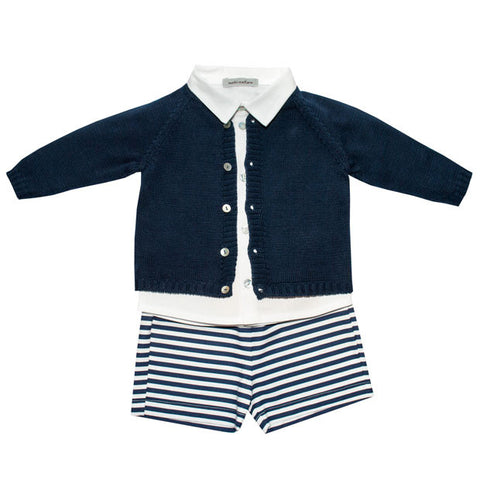 Mebi - Baby Boys Summer Knit Cardigan, Shorts and Linen Shirt 3 piece set - Sweet Peas Kidswear  - 1
