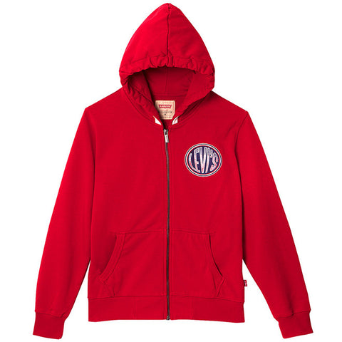 Levi's - Boys Red Cotton Levi's Logo Hoodie-Jumper-Sweet Peas Kidswear