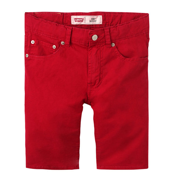Levi's - Boys Red, 510 Skinny Fit Bermuda Shorts-Shorts-Sweet Peas Kidswear
