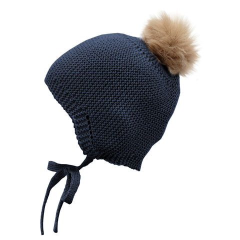 Mebi - Knitted Baby Hat with Fur Pom Pom in Navy 1