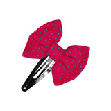 Fuchsia Blue Dots Bow hair clip-Bow Hair Clips-Sweet Peas Kidswear
