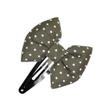 Olive White Dots Bow hair clip-Bow Hair Clips-Sweet Peas Kidswear