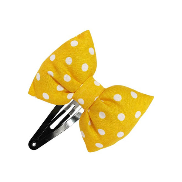 Yellow Chic Dots Bow hair clip-Bow Hair Clips-Sweet Peas Kidswear