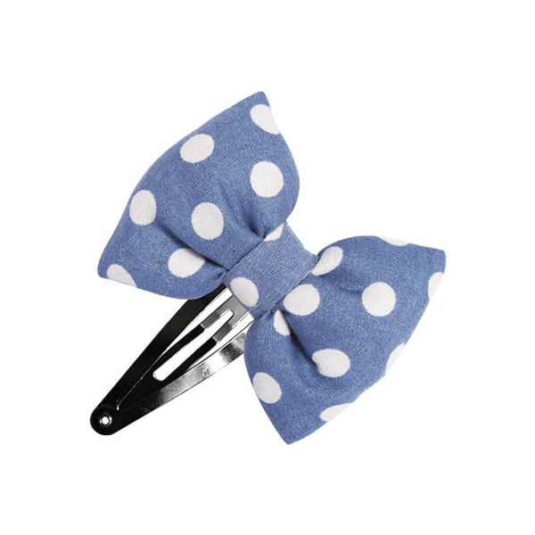 Blue Chic Dots Bow hair clip-Bow Hair Clips-Sweet Peas Kidswear