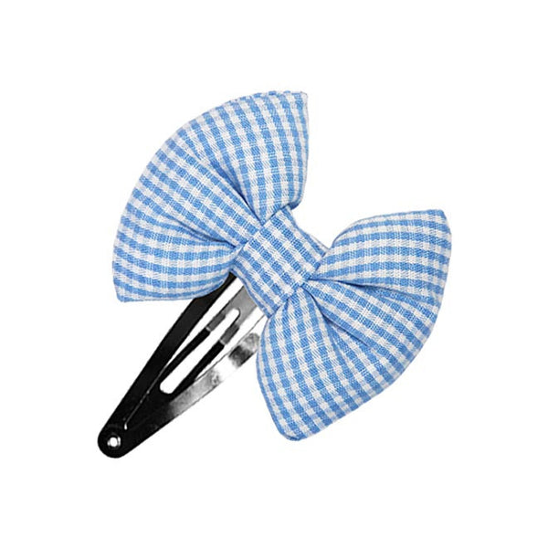 Sky Blue Gingham Bow hair clip-Bow Hair Clips-Sweet Peas Kidswear